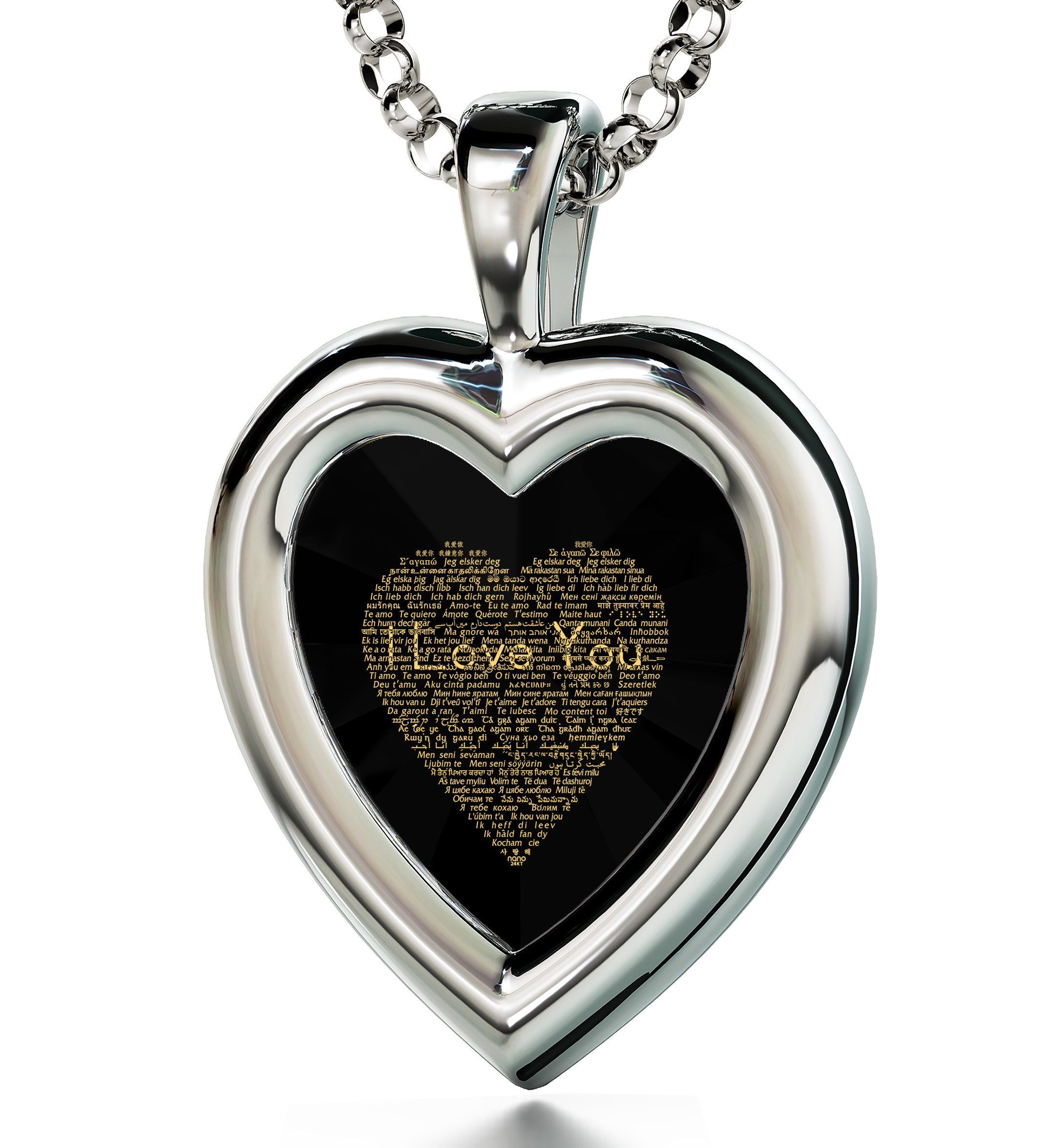 925 Sterling Silver Heart Pendant I Love You Necklace 120 Languages Inscribed Black Cubic Zirconia, 18''