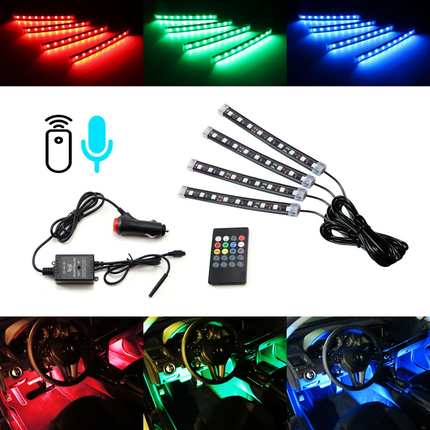 Ijdmtoy 4pc 6 36 Smd 7 Color Rgb Led Knight Rider Sound Subaru Wrx Interior Illumination Wiring Active Lighting Kit W Wireless Control For Car Suv Truck Motorcycle Bike Atv