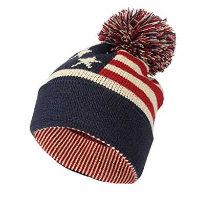 24b4a0f1c3d62 WITHMOONS Knit US Canada Flag Union Jack Pom Beanie Hat JZP0027  (Navy)(Size  One Size)  Amazon.co.uk  Clothing
