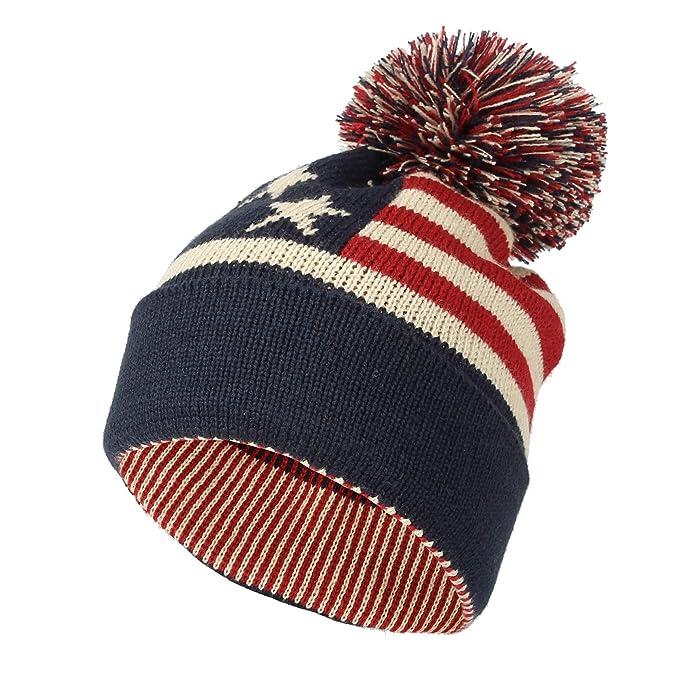 e85dbb5bc WITHMOONS Knit US Canada Flag Union Jack Pom Beanie Hat JZP0027