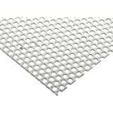 """304 Stainless Steel Perforated Sheet, Unpolished (Mill) Finish, Annealed, Staggered- 0.125"""" Holes, 0.036"""" Thickness, 20 Gauge, 12"""" Width, 12"""" Length, 0.1875"""" Center to Center"""