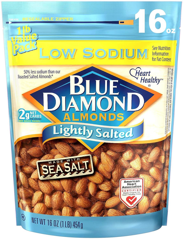 Blue Diamond Almonds, Low Sodium Lightly Salted, 16 Ounce
