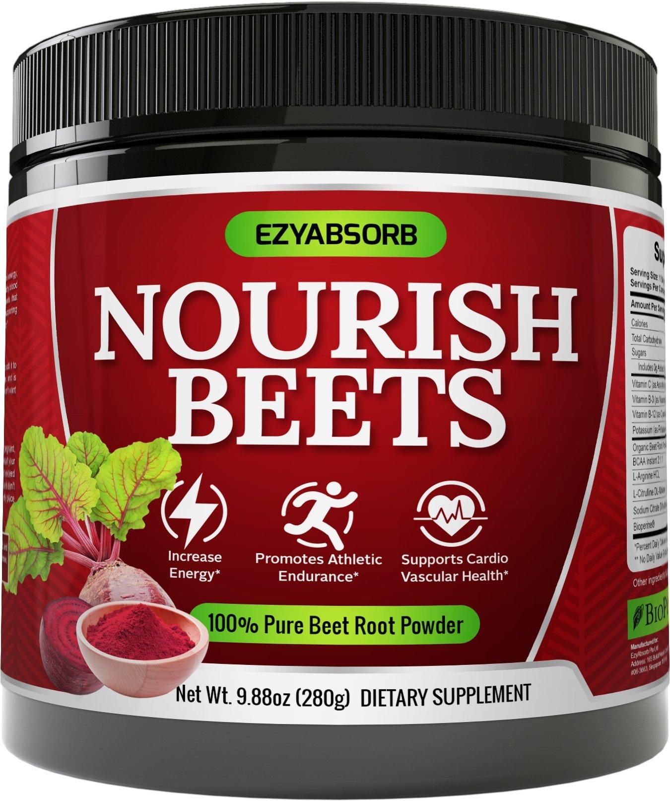 EzyAbsorb Beet Root Powder - Organic Beet Root Juice Powder + BCAA Amino Acids, Vitamins C, B3, B12 + L-Arginine HCL + L-Citrulline Dl-Malate + Bioperine | Nitric Oxide Booster Supplement | Non-GMO Hy by EzyAbsorb