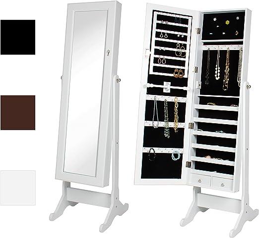 White Small Mirrored Jewelry Cabinet Storage Box