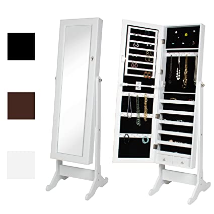 Best Choice Products Mirrored Jewelry Cabinet Armoire W/Stand Rings,  Necklaces, Bracelets