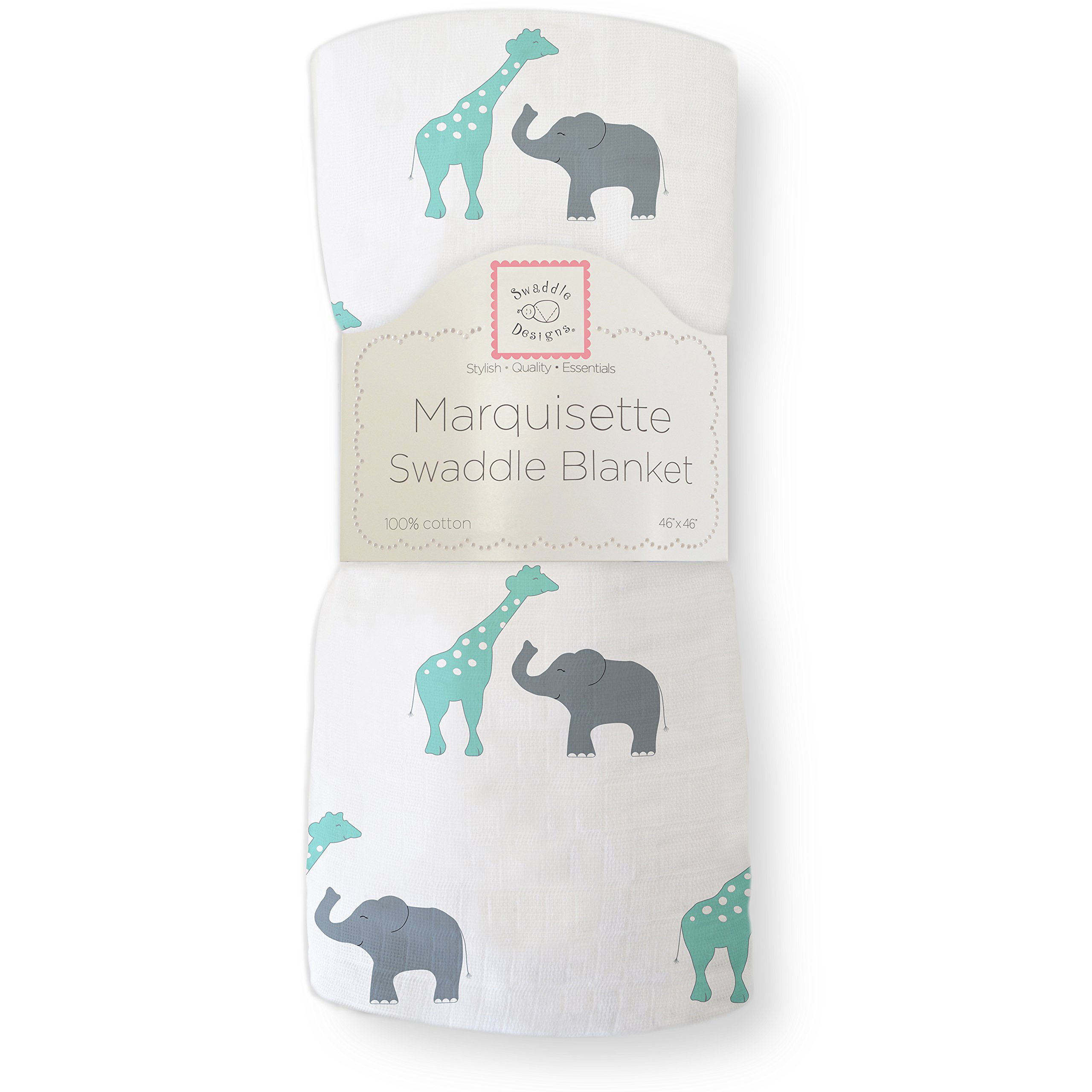 SwaddleDesigns Marquisette Swaddling Blanket, Premium Cotton Muslin, SeaCrystal Safari Fun