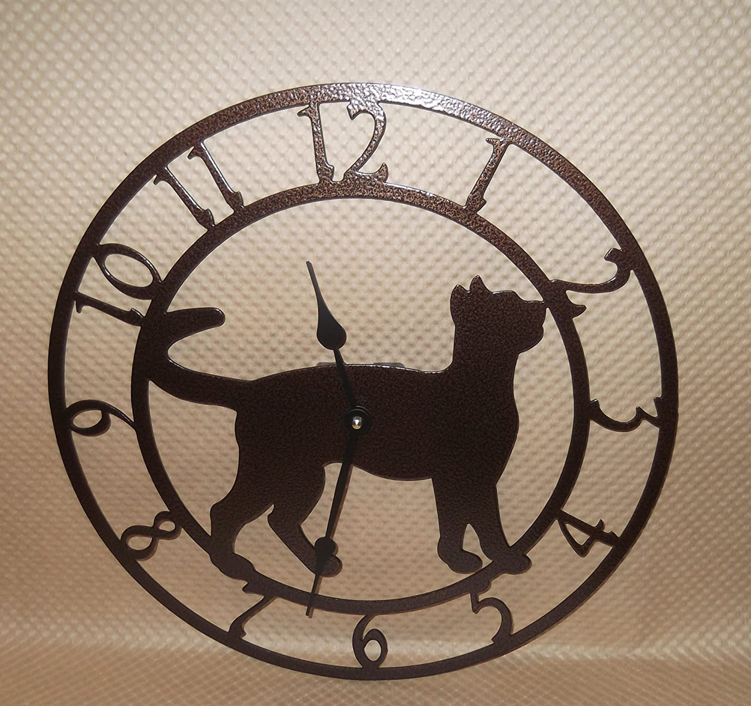 Cat Wall Clock. Kitten. Copper Vein Color. Handmade in USA. 15 Inch Wide. Quartz Movement.