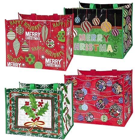 Amazon.com: 12 Jumbo Navidad bolsa Bolsas con asas ...