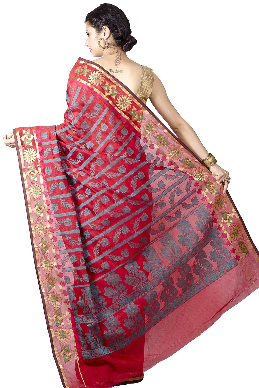Chandrakala Women's Cotton Silk Banarasi Saree Free Size Red by Chandrakala (Image #2)