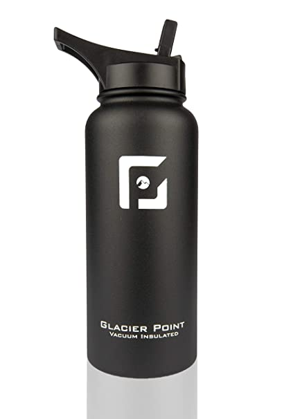 3fb9bb10d3 Glacier Point Vacuum Insulated Stainless Steel Water Bottle (18oz / 32oz)  Wide Mouth with Bonus Sports Lid Double Walled Construction   Premium  Powder ...