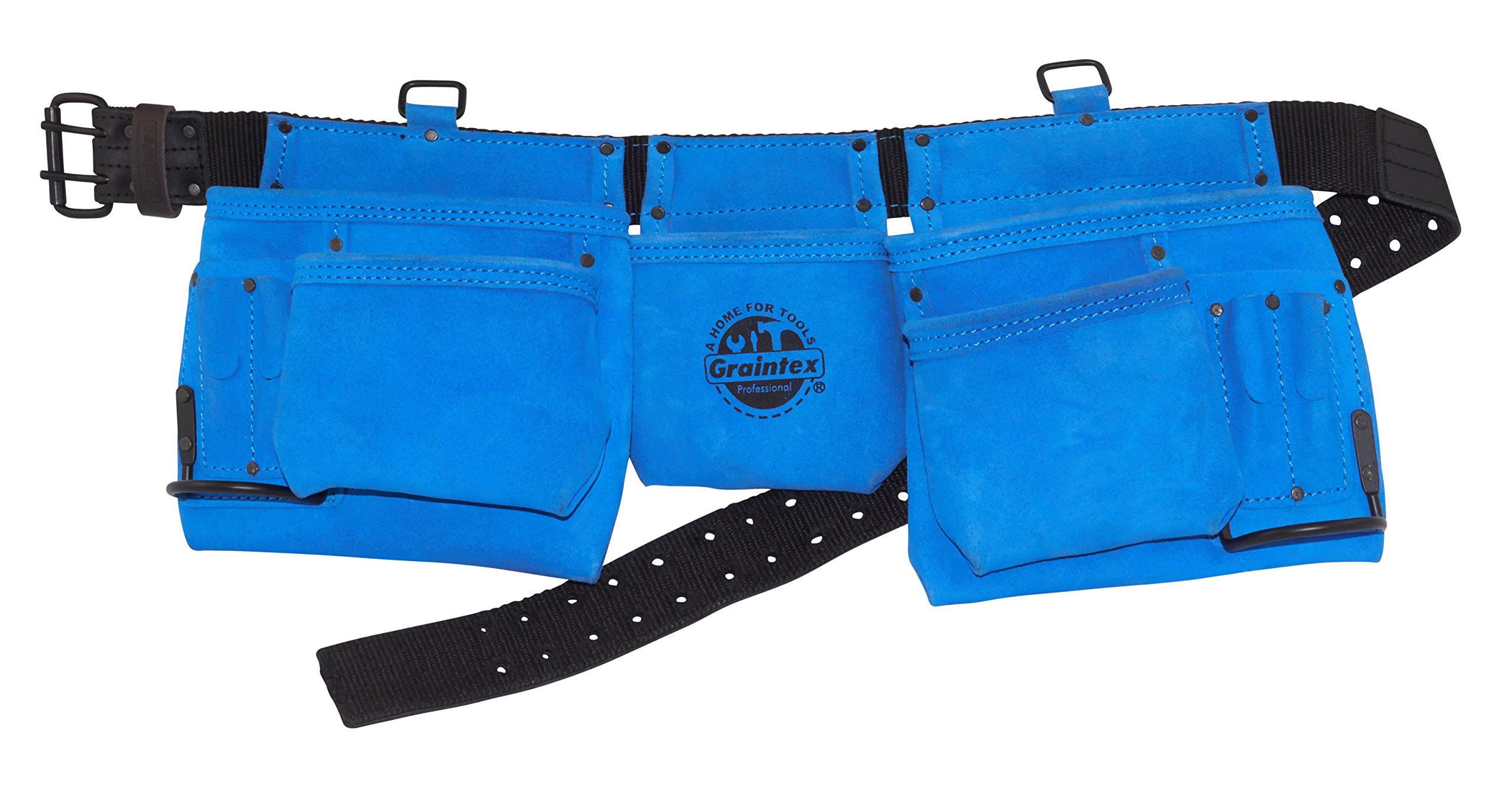 Graintex DS2131 11 Pocket Professional Blue Suede Leather Work Apron with 2'' Leather/Webbing Belt Double Needle Roller Buckle by Graintex