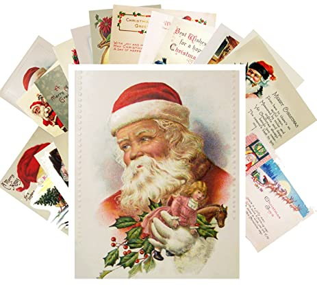 Amazon vintage christmas greeting cards 24pcs antique santa vintage christmas greeting cards 24pcs antique santa and kids christmas wishes cards reprint postcard set m4hsunfo
