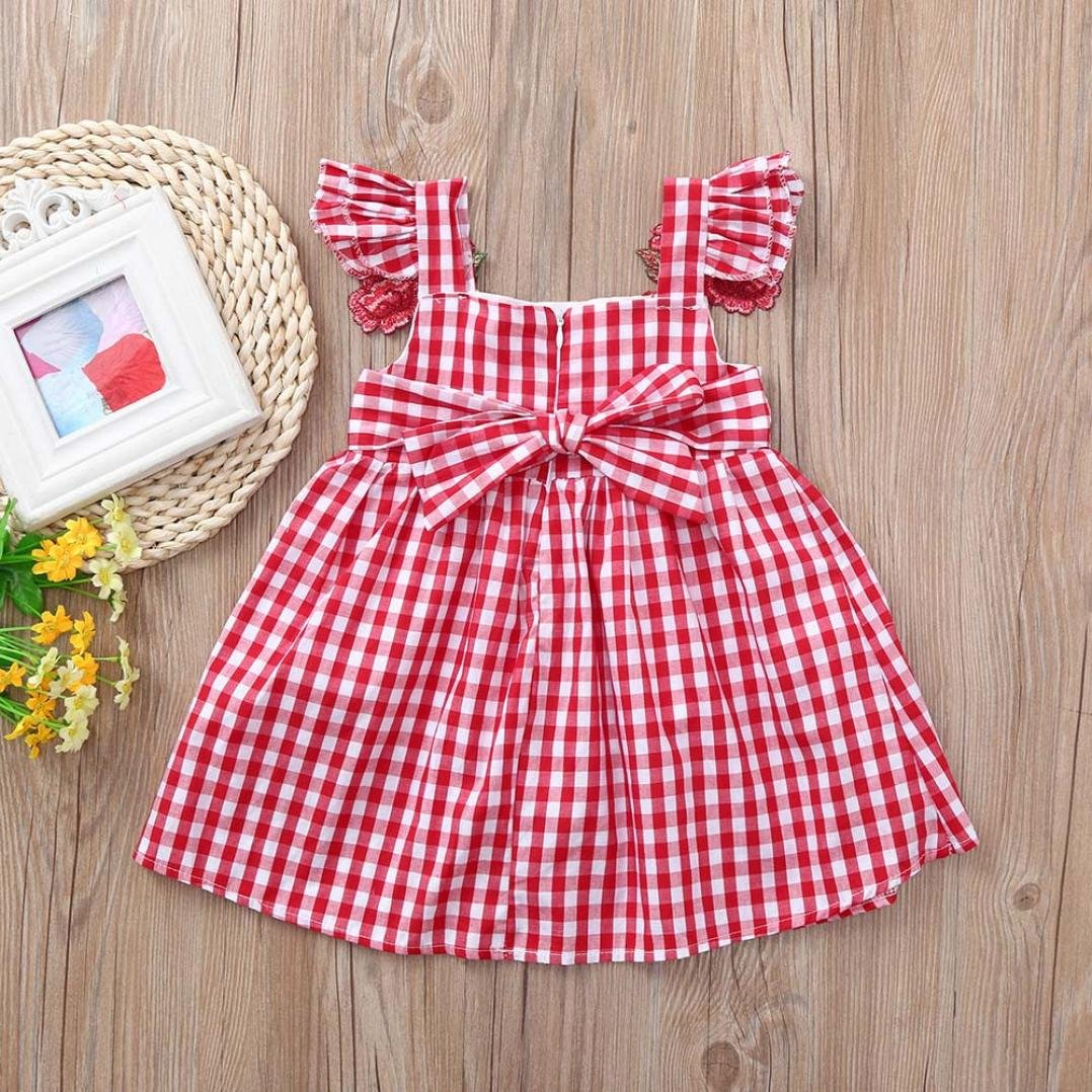 kaiCran Girls Dress,Little Girls Rose Embroidery Applique Ruffle Casual Dresses Outfits Clothes