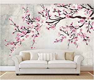 wall26 - Large Wall Mural - Watercolor Style Ink Painting Pink Cherry Blossom on Vintage Wall Background | Self-Adhesive Vinyl Wallpaper/Removable Modern Wall Decor - 66x96 inches