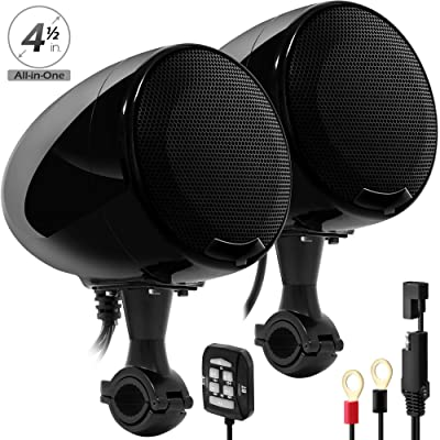 "GoHawk AN4-X 2-Channel All-in-One Amplifier 4.5"" Full Range Waterproof Bluetooth Motorcycle Stereo Speakers Audio Amp System w/AUX for 7/8 to 1.25"" Handlebar Harley Cruiser Can-Am ATV RZR Polaris: Automotive"