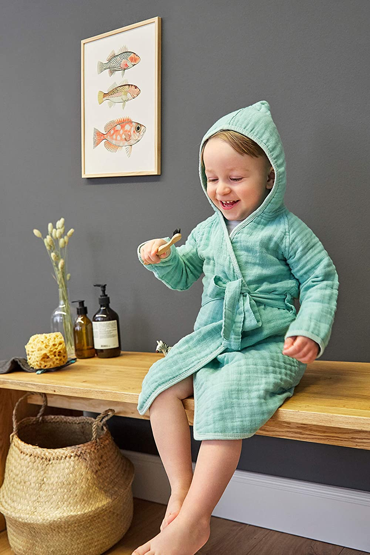 grau L/ÄSSIG Kinder Bademantel mit Kapuze Muslin Baumwolle 12-18 Monate//Bathrobe