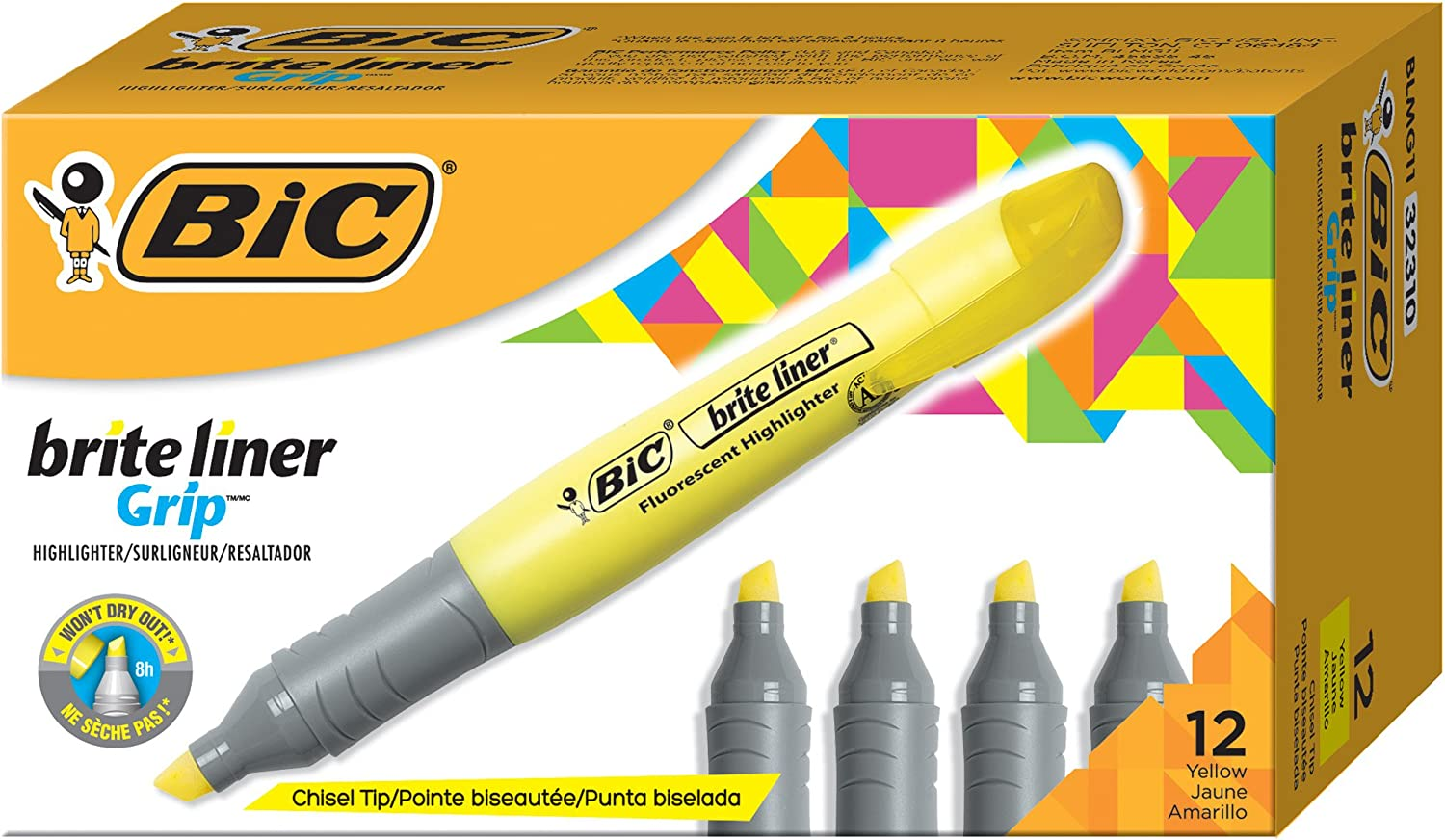BIC Brite Liner Grip Highlighter, Tank, Chisel Tip, Yellow, 12-Count