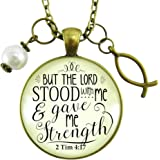 """24"""" Jesus Fish Necklace But the Lord Stood With Gave Me Strength Bronze Religious Faith Pendant Jewelry"""