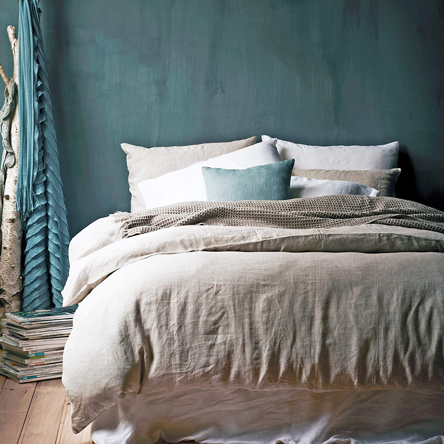 Duvet Cover Size 100/% Linen Twin Duvet Cover Levtex Home Washed Linen in Spa 66 x 88in.