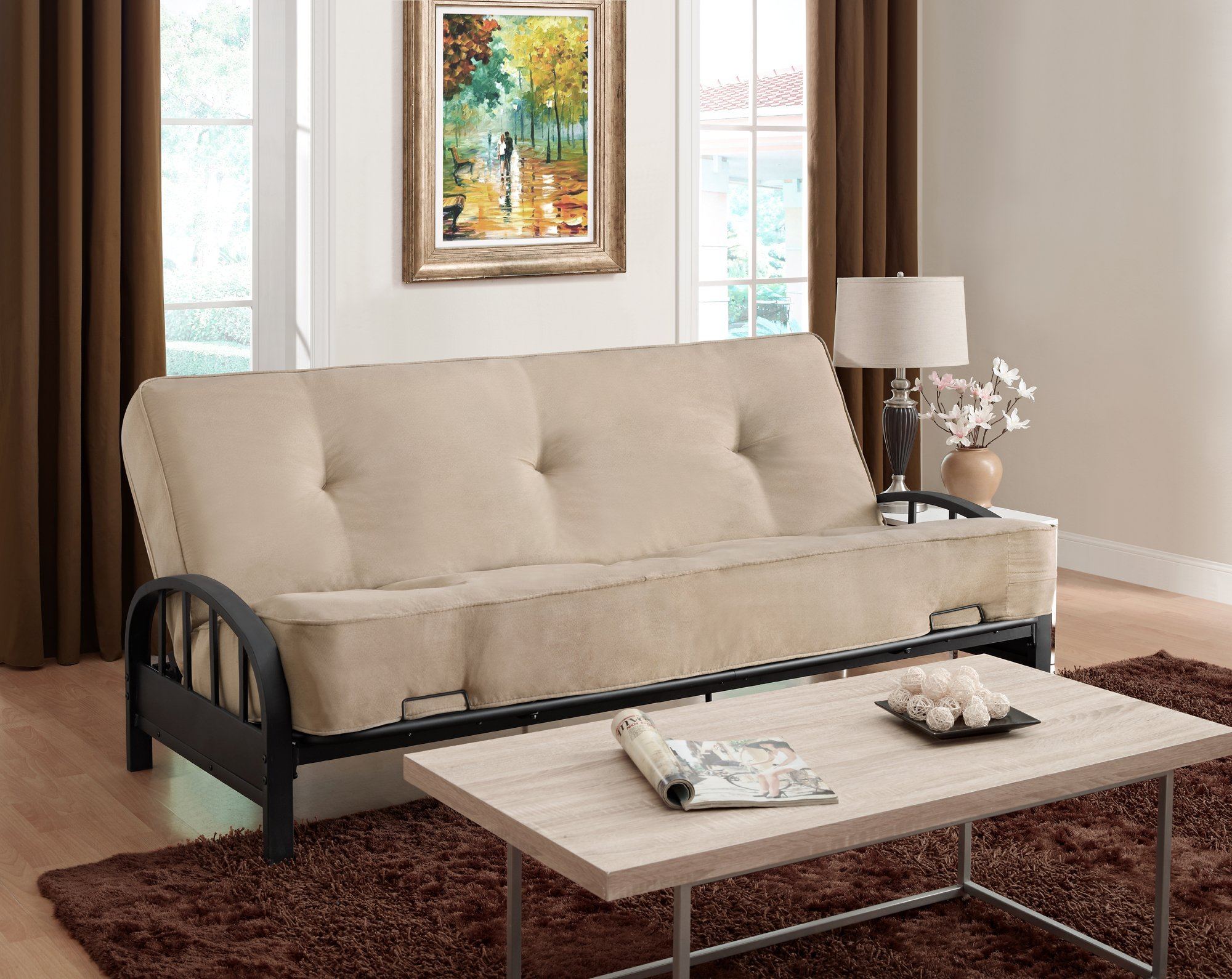 DHP Aiden Futon Metal Frame, Converts Easily to a Full- Size Bed, Black by DHP (Image #2)