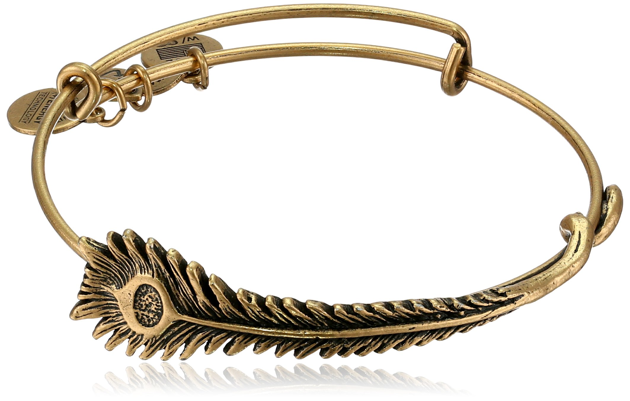 Alex and Ani Earth Sultry ''Peacock Feather'' Rafaelian Gold-Tone Bracelet, 7.75''
