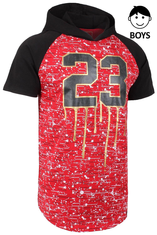 JC DISTRO Boys Hip Hop Hi Low Elong Graphic Print Hooded Raglan Shirts