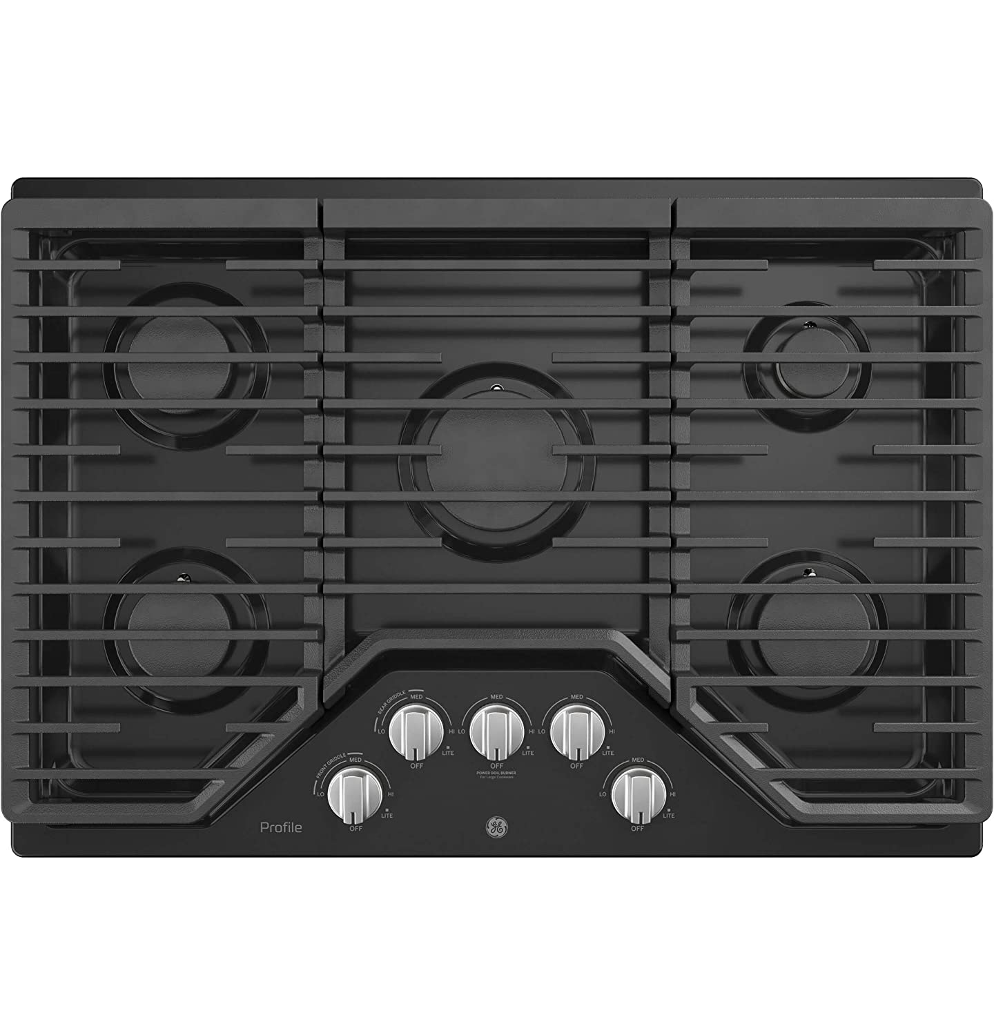GE Profile PGP7030DLBB 30 Inch Natural Gas Sealed Burner Style Cooktop with 5 Burners, ADA Compliant, Electronic Ignition in Black G.E. Profile