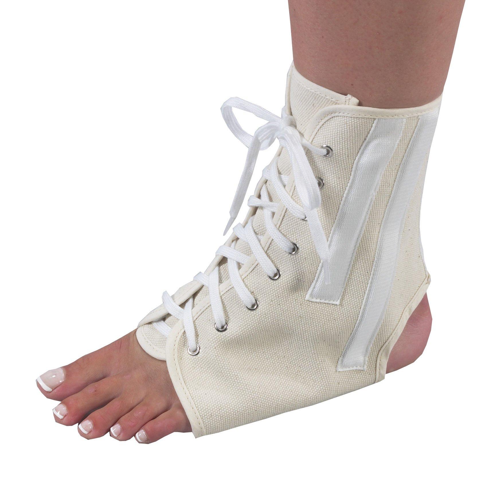 Bilt-Rite Mastex Health Canvas Ankle Brace with Laces, Beige, Medium