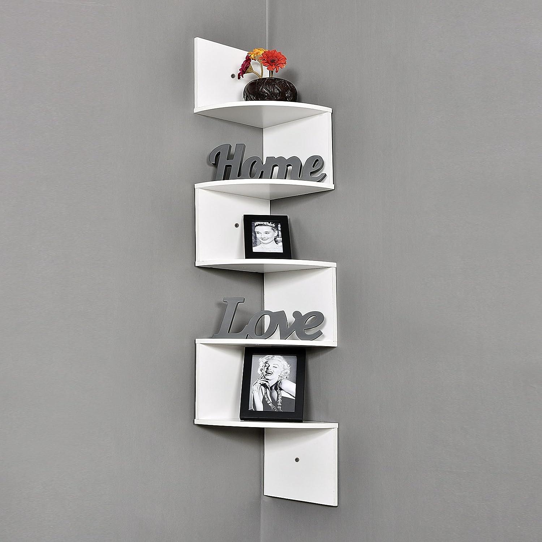 Amazon.com: WELLAND Large 10 x 10 Inches 5 Tiers Corner Wall Shelf, White:  Home & Kitchen