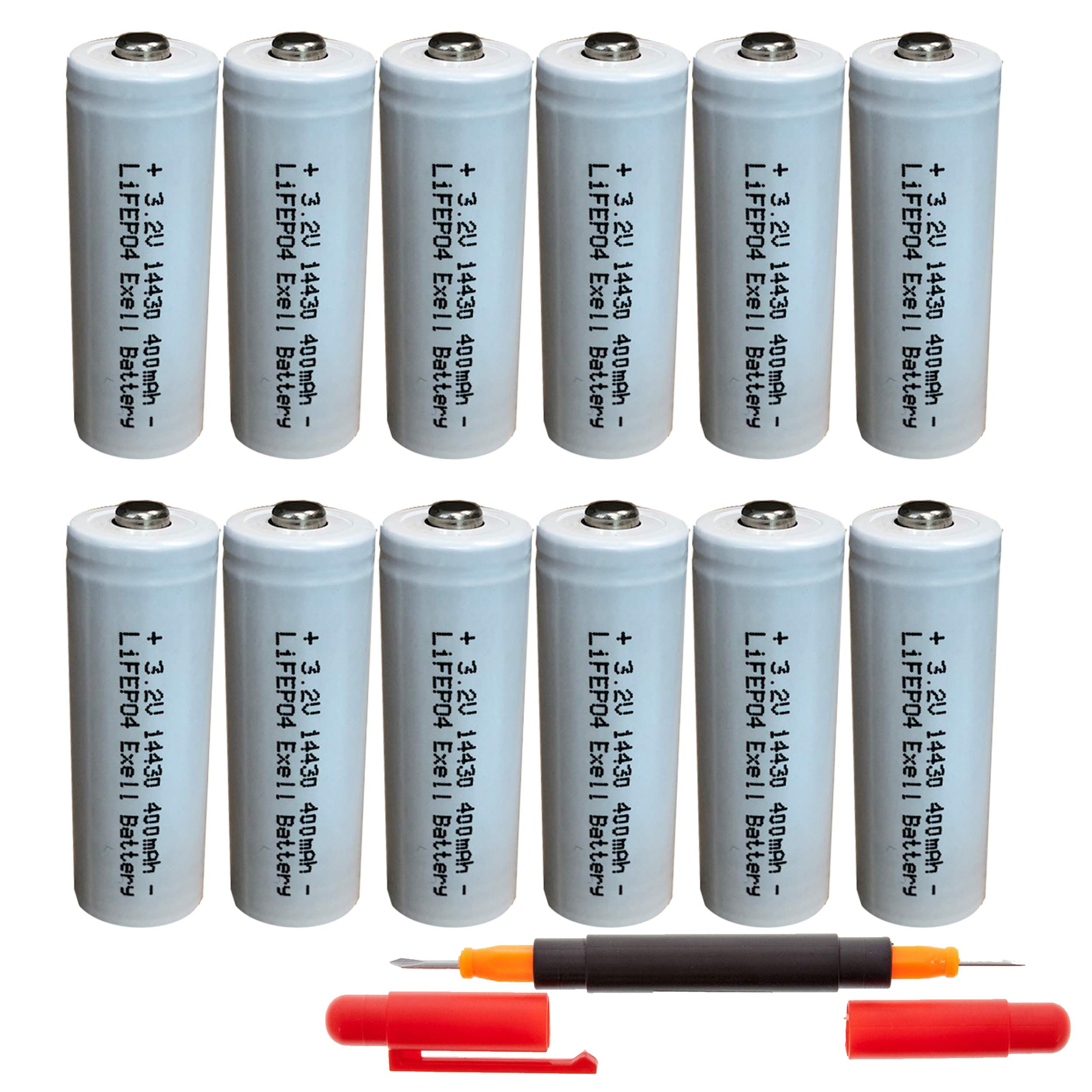 (12-Pack) Exell Battery 3.2V Li-FePO4 Size 14430 (14 x 43mm) 400mAh Rechargeable Battery For Garden Lights, Solar Lamps, LED Flashlights FAST USA SHIP by Exell Battery