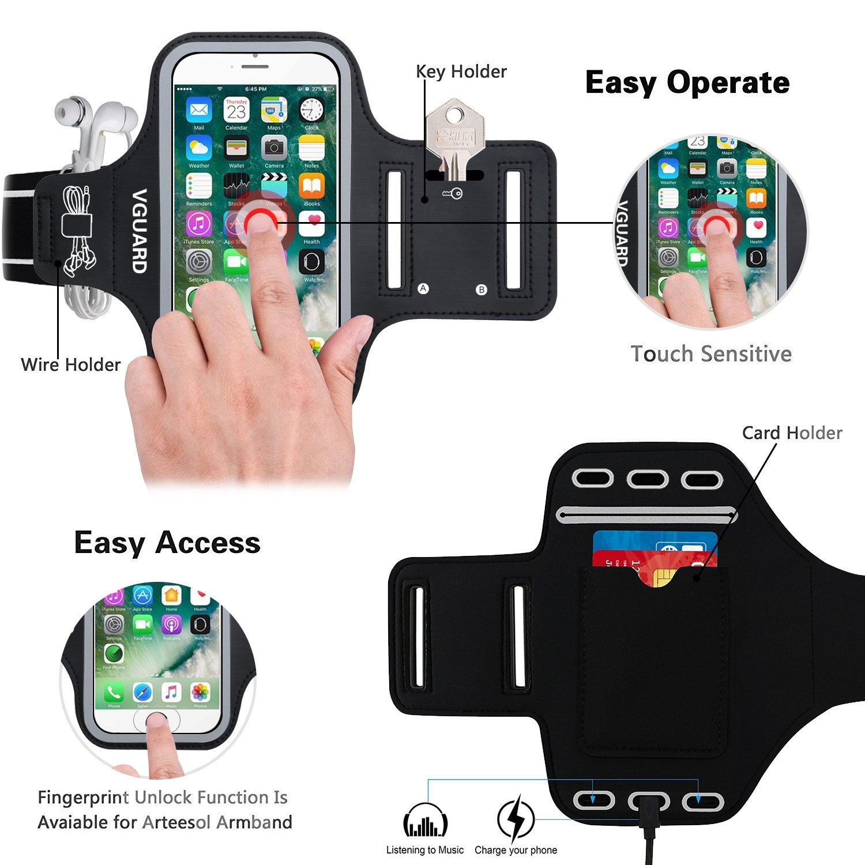 VGUARD Brazalete Deportivo para 6.2 Pulgados iPhone X/8 Plus/7 Plus [ID Touch Compatibles] Caja del Brazalete Antideslizante para Deportes con Soporte para ...