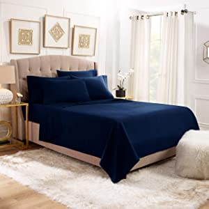 Empyrean Stronger Bed Sheet Set – Holds Longer 110 GSM Heavyweight - Luxury Soft Double Brushed Microfiber – 6 Piece Sheets with 4 Pillowcases – Tight Fit Straps Fitted Sheet – Queen Size, Navy Blue