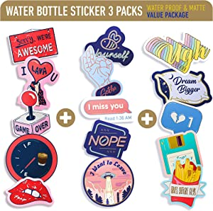 VSCO Stickers for Water Bottles 15 Pack - Funny Waterproof Vinyl Decal Stickers, Gifts for Teens, Girls, Women, for Hydro Flask Tumbler Yeti Waterbottle Laptop Phone Computer Mac Book Skateboard Car