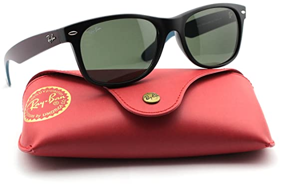 124de0a7a6f Image Unavailable. Image not available for. Color  Ray-Ban RB2132 6182  Wayfarer Matte Black   Crystal Green Lens 55mm