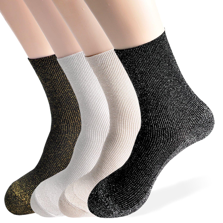 OkieOkie Metallic Glitter Lurex Sparkle Retro Casual Crew Fashion Socks Ladies Womens-4 Pairs Good for Gift One Size Fits All (4 Glitter Combo 1)