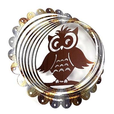 "WorldaWhirl Whirligig 3D Wind Spinner Hand Painted Stainless Steel Twister Owl(12"" Inch, Silver / Bronze): Garden & Outdoor"