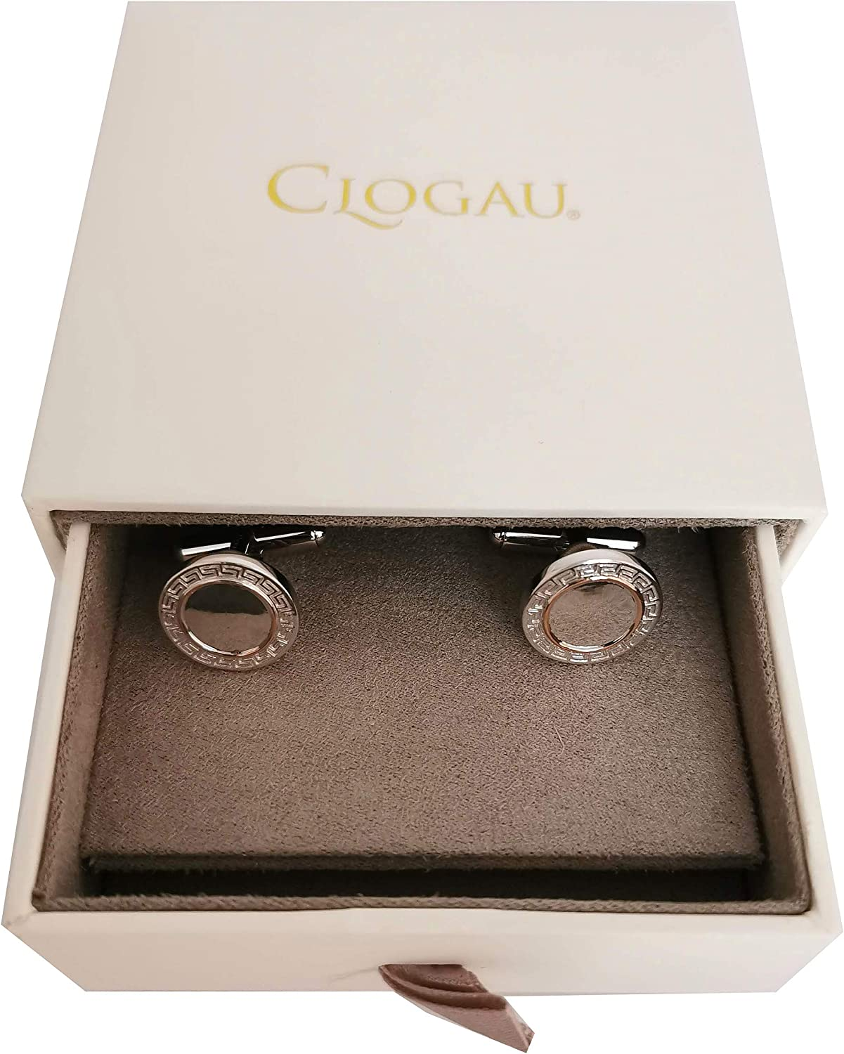 Rose Gold Lined Cufflinks with Presentation Box