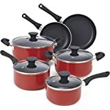 Cook N Home 10-Piece Nonstick Stay Cool Handle Cookware Set, Red