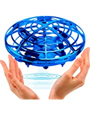 Samoleus Mini Drones for Kids, Hand Operated Drone Flying Ball, UFO Drone Infrared Induction with 360°Rotating and Flashing LED Light for Boys Girls Adults and Kids Flying Toys Gifts (Blue)