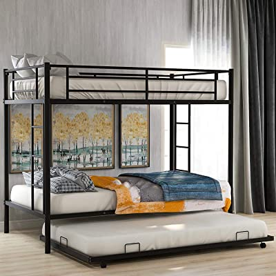 Buy Metal Bunk Bed Twin Over Twin Bunk Bed With Trundle And Safety Guard Rails Space Saving Bed Frame For Kids Teens Adults Black Online In Turkey B08hyrf817