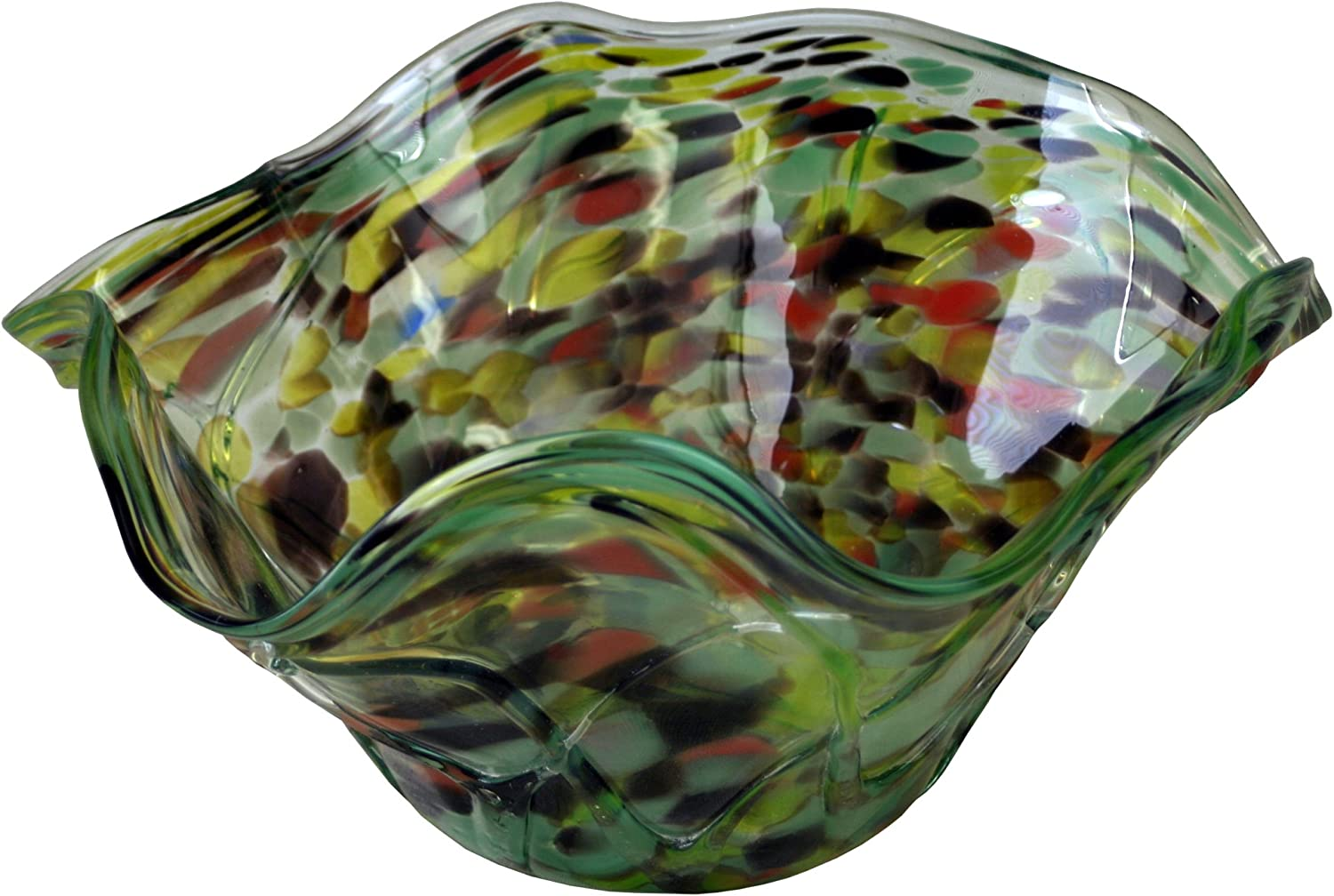 Cohasset Abstract Decorative Glass Bowl Large Green Home Kitchen
