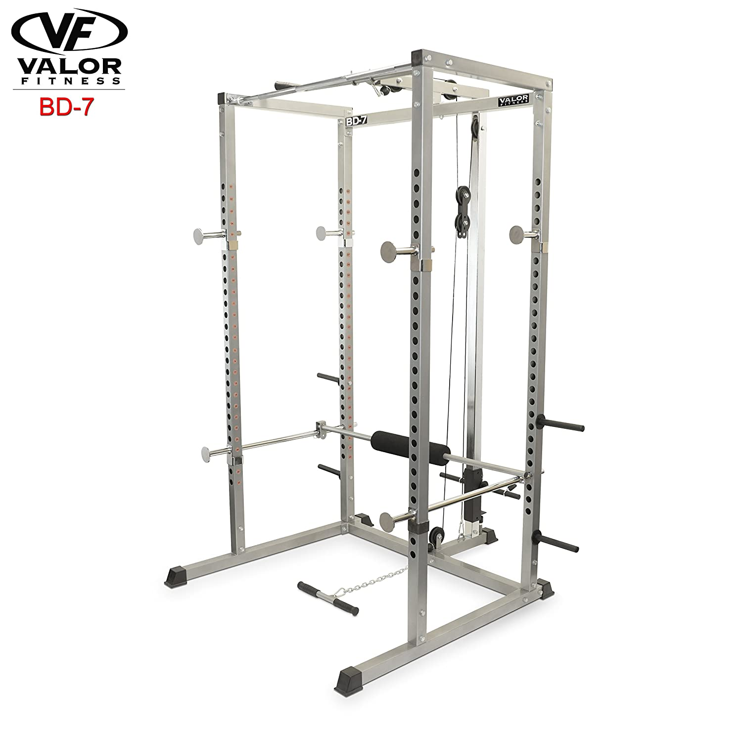 3. Valor Fitness BD-7 Power Rack with Lat Pull Attachment