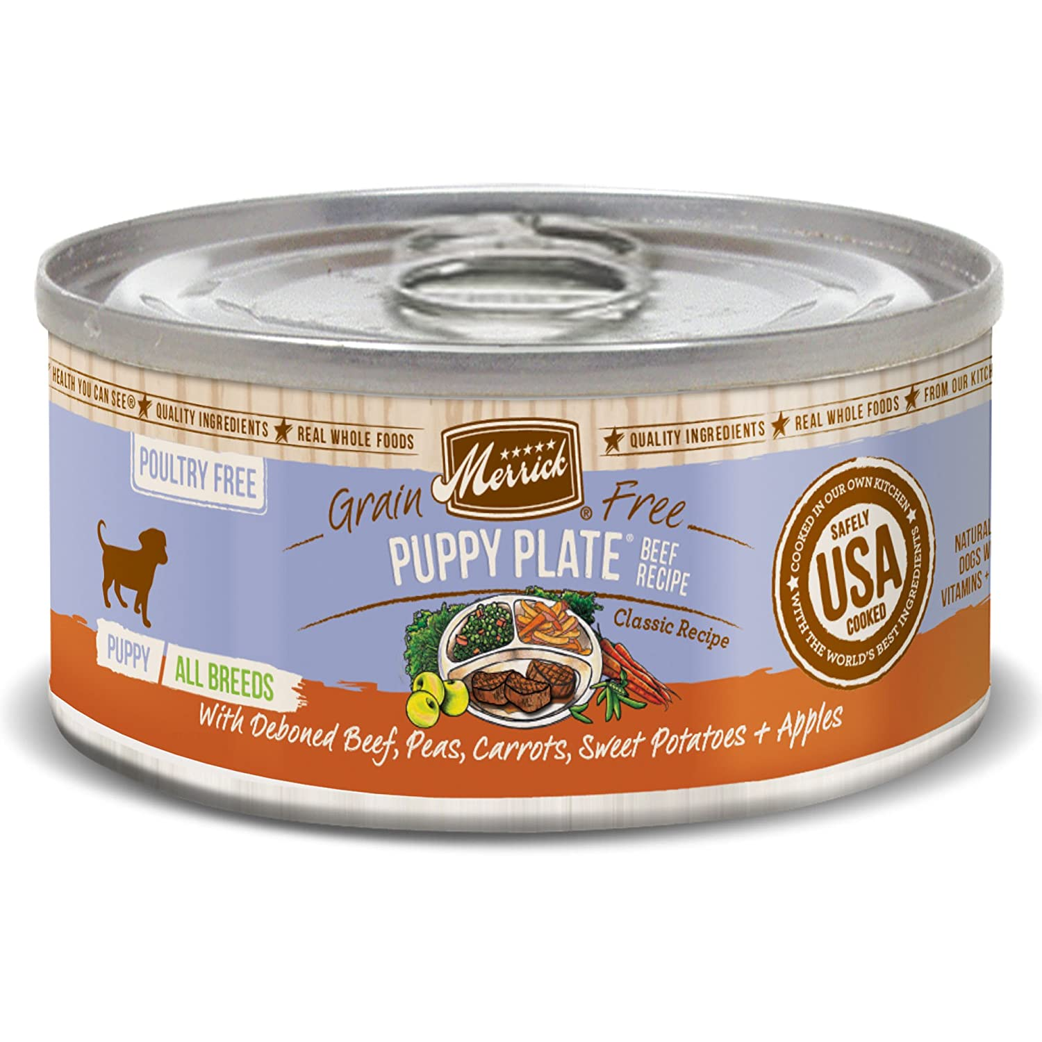 Amazon merrick classic grain free puppy plate beef small breed amazon merrick classic grain free puppy plate beef small breed wet dog food 32 oz case of 24 cans pet supplies forumfinder Images