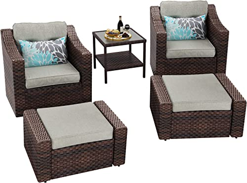 YITAHOME 5 Piece Wicker Patio Furniture Set