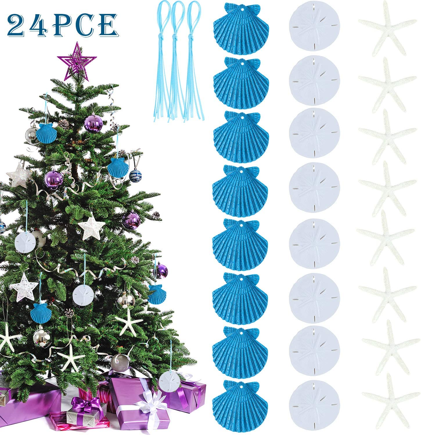 20 Pieces Christmas Resin Seashell Ornaments Sand Dollar Ornaments Shell Sand Dollar Christmas Hangings with Blue Ribbon for Christmas Tree DIY Craft Decorations