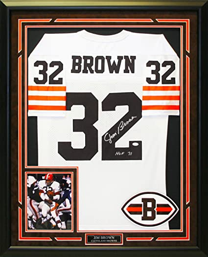 cda1505b6ba Hand signed and custom framed Jim Brown jersey. at Amazon s Sports ...
