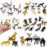 "Fun Central (BC831) Animal party pack - 12pieces farm animals, 12pieces rain forest animals, 12pieces 2""cat figures, 12pieces vinyl plastic horses and 12pieces safari animals"