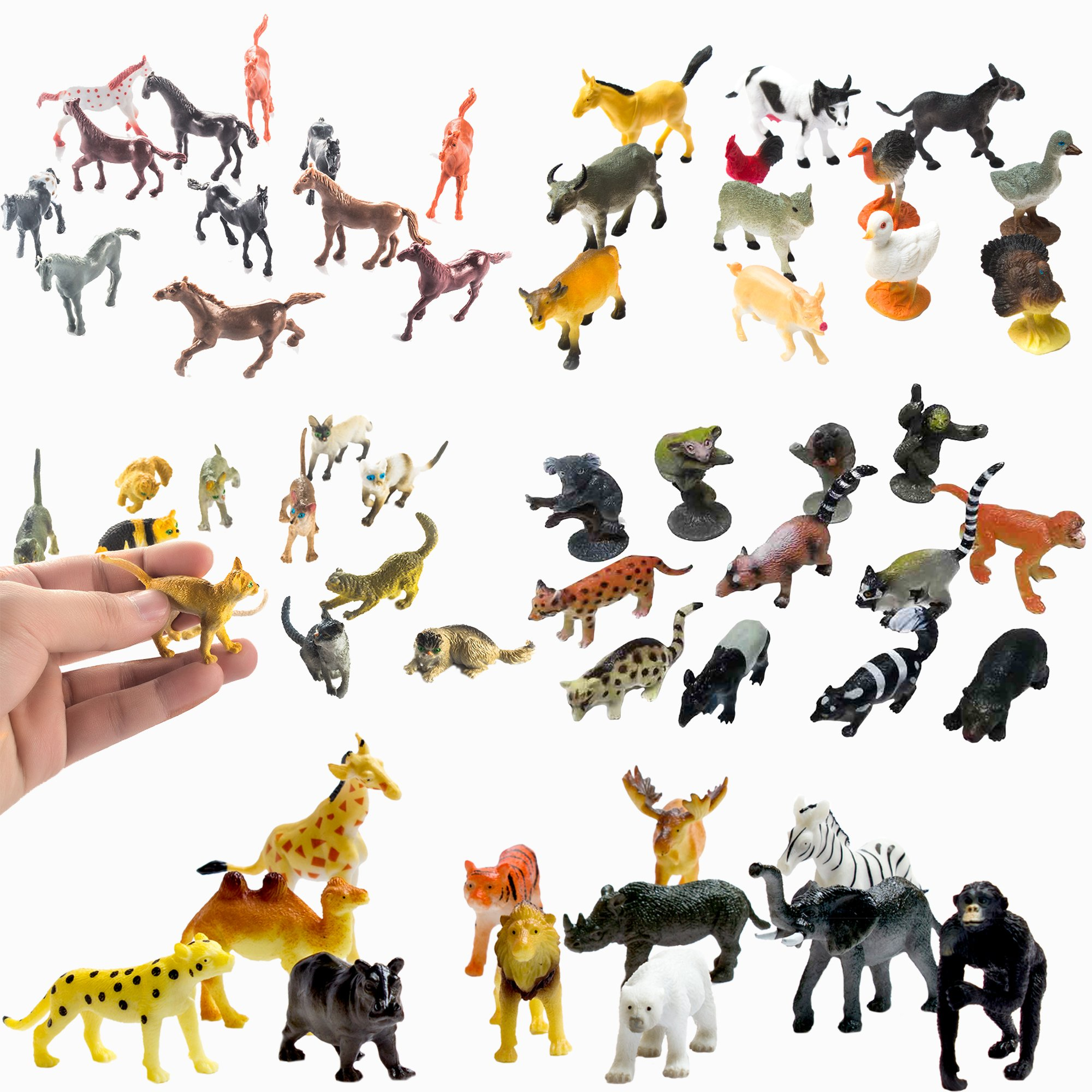 Fun Central BC831 Animal party pack - 12pieces farm animals, 12pieces rain forest animals, 12pieces 2'' cat figures, 12pieces vinyl plastic horses and 12pieces safari animals