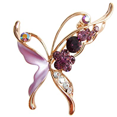 Charming Navachi 18k Gold Plated Purple Enamel Crystal Butterfly Az7151b Brooch Pin