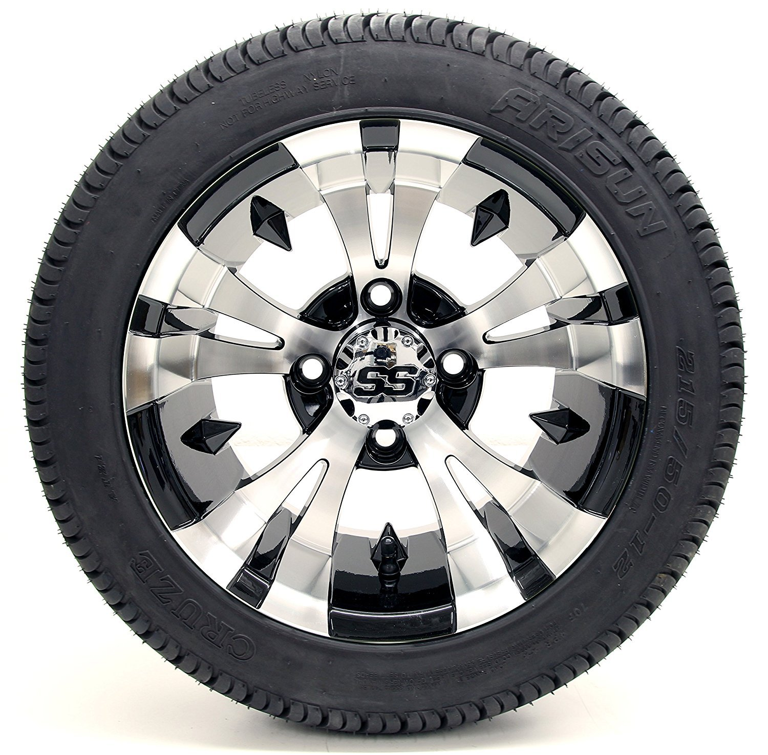 Golf Cart 12'' ''Vampire'' SS Gloss Black and Machined 215/35-12 or 215/50-12 DOT Golf Cart Tire Combo - - Set of 4 (215/50-12, Metric Lugs)